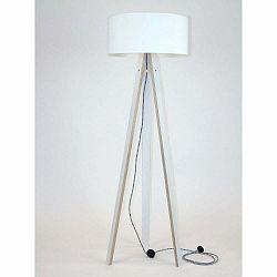 Biela stojacia lampa s bielym tienidloma čierno-bielym káblom Ragaba Wanda