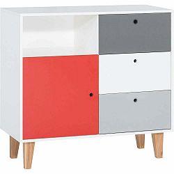 Bielo-sivá komoda s červeným detailom Vox Concept