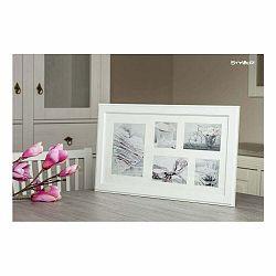 Biely rámček na 5 fotografií Styler Malmo, 27×51 cm