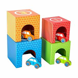 Detské drevené sťahovacie kocky Legler Vehicles