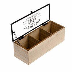 Drevená škatuľka na čaj se 3 priehradkami Dakls, 22,5 x 8 cm