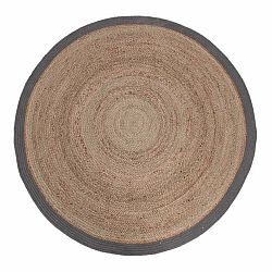Jutový koberec so sivým okrajom LABEL51 Rug,⌀ 150 cm