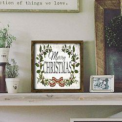 Obraz v ráme z borovicového dreva Christmas Leaf, 34 x 34 cm