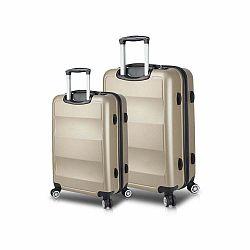 Sada 2 cestovných kufrov na kolieskach s USB porty v zlatej farbe My Valice LASSO Large & Medium