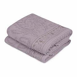 Sada 2 fialových bavlnených uterákov na ruky Catherine, 50×90cm