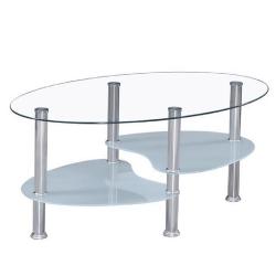 Konferenčný stolík, oceľ/sklo, WAVE NEW
