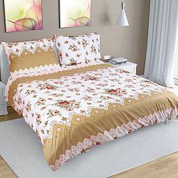 Bellatex Bavlnené obliečky Ruže béžová, 200 x 220 cm, 2ks 50 x 70 cm