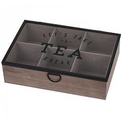 Box na čaj so skleneným vekom, 6 sekcií, MDF