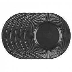 Florina Sada dezertných tanierov Capri, 22 cm, 6 ks, čierna