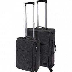 Sada textilných kufrov na kolieskach 2 ks, tmavosivá